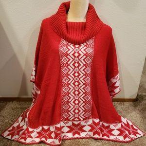 New Black Rivet snowflake cowl neck poncho sweater